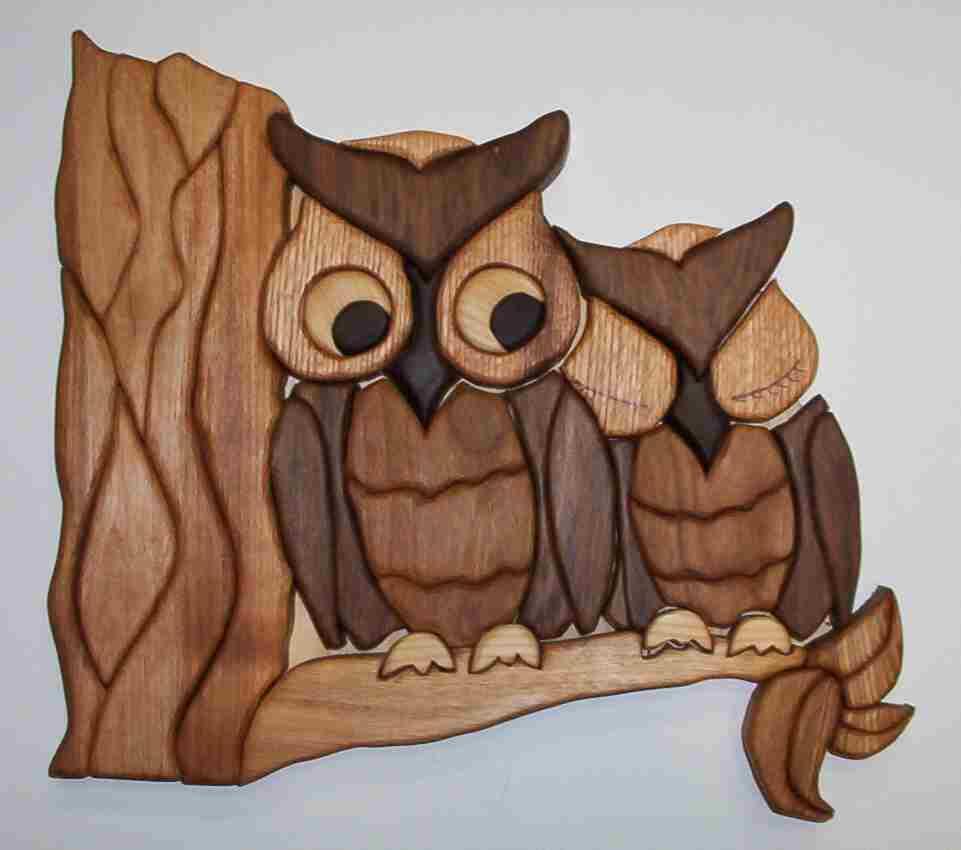 Intarsia owls