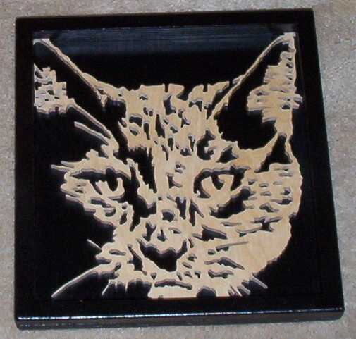 fretwork cat portrait
